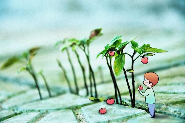 Cueillette de pommes: illustration de photographie créative mélangée