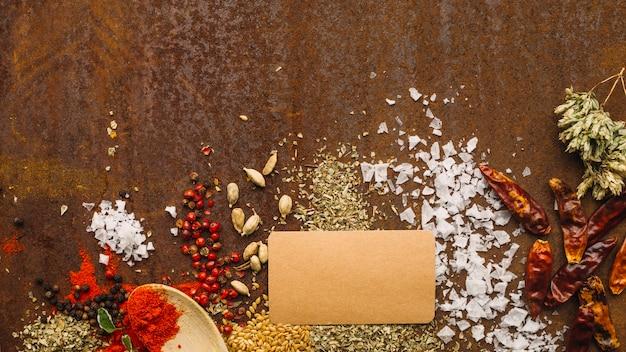 Cuillère et carte de papier sur les épices
