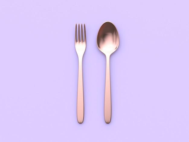 Cuillère fourchette en cuivre métallisé surface violette minimale