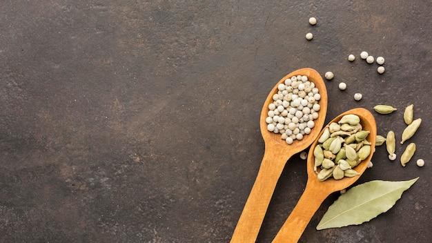 Cuillères en bois copie-espace avec des graines