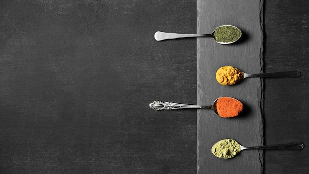 Cuillères à copier avec des épices en poudre