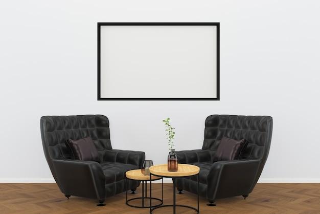 Cuir noir chaise vintage fond de bois foncé salon fond de cadre intérieur