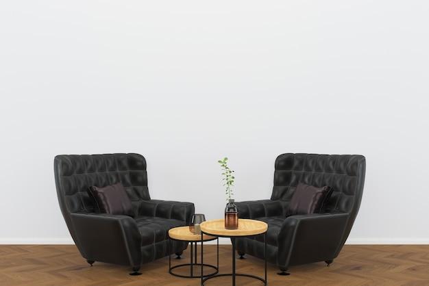 Cuir noir chaise vintage fond de bois foncé salon fond intérieur