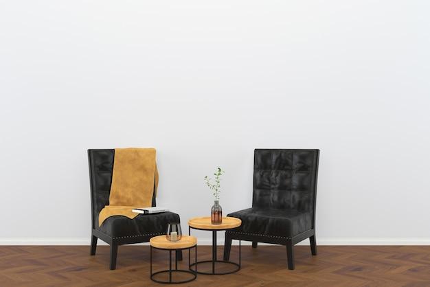 Cuir noir chaise vintage fond de bois foncé salon intérieur loft vase fond