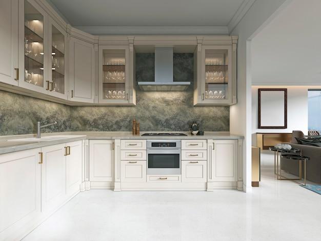Cuisine art déco moderne avec des éléments classiques. façade vitrée et électroménagers encastrés. intérieur aux couleurs beiges. rendu 3d.