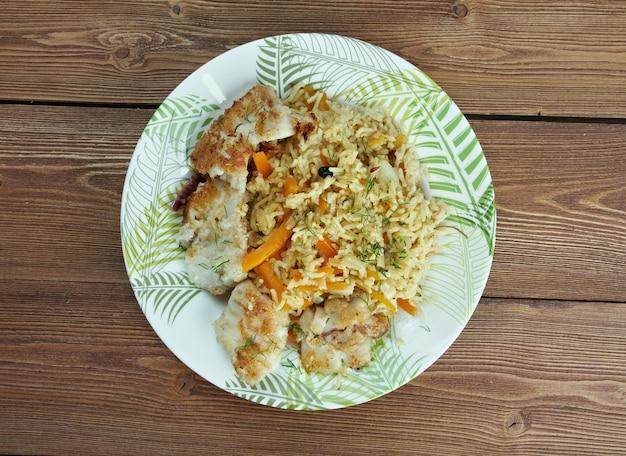 Cuisine azerbaïdjanaise de poisson pilaf