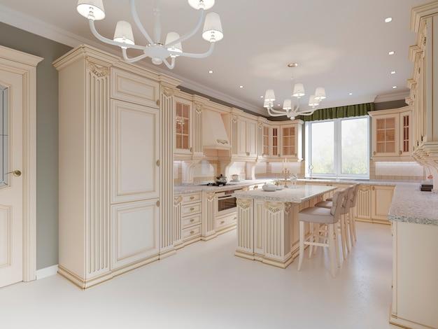 Cuisine beige dans un style classique, rendu 3d