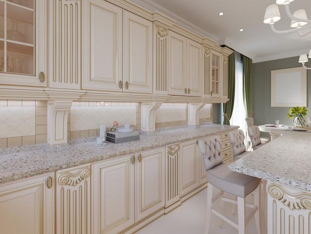 Cuisine en bois classique avec détails en bois, design d'intérieur de luxe beige, rendu 3d