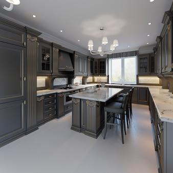Cuisine classique, design intérieur minimaliste moderne avec détails en bois, rendu 3d