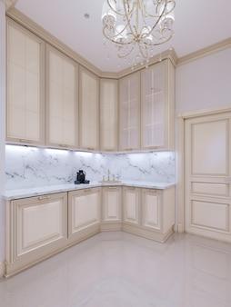 Cuisine classique, design d'intérieur minimaliste scandinave avec détails en bois, rendu 3d