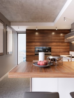 Cuisine contemporaine dans un style moderne. appartement de luxe au centre-ville. zone de petit-déjeuner dans un appartement tout neuf et confortable. rendu 3d