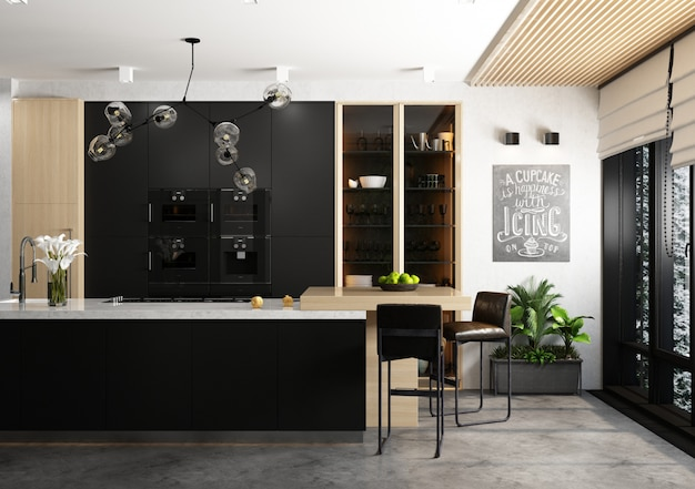 Une cuisine dans un style moderne aux couleurs sombres et claires. intérieur.