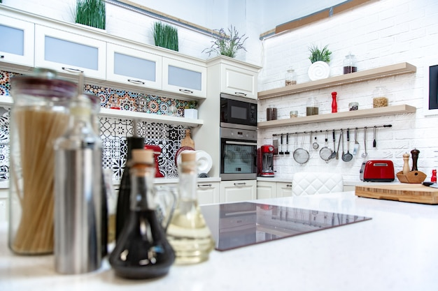 Cuisine, design lumineux, style moderne, design classique