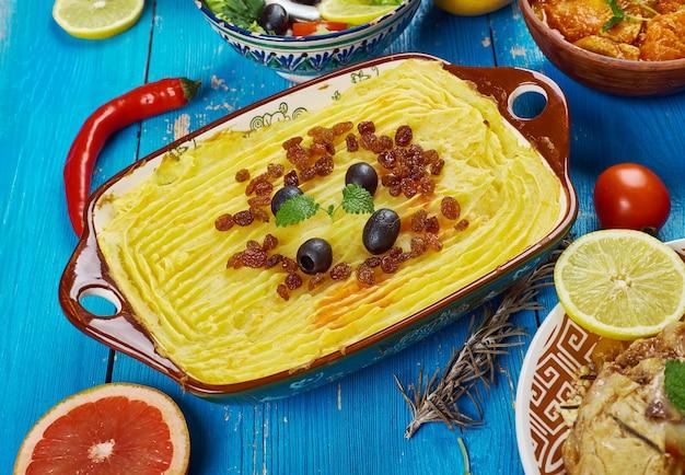 Cuisine du maghreb .torshi- purée de pommes de terre libyenne , courge