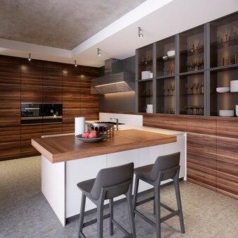 Une cuisine avec un îlot de cuisine avec deux chaises dans une cuisine moderne, le style de koteemporri et des meubles de cuisine modernes. rendu 3d.