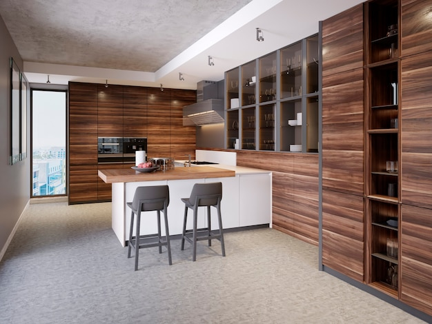 Une cuisine avec un îlot de cuisine avec deux chaises dans une cuisine moderne, le style des meubles de cuisine contemporains et modernes. rendu 3d.