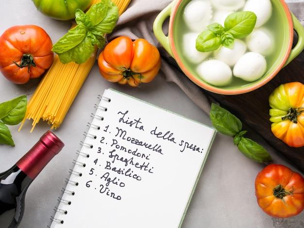 Cuisine italienne tomate mozzarella nature morte