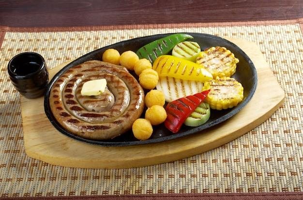 Cuisine japonaise.faire de la saucisse rôtie aux légumes