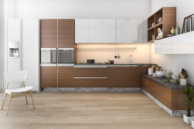 Cuisine loft en bois rendu 3d avec bar et coin salon