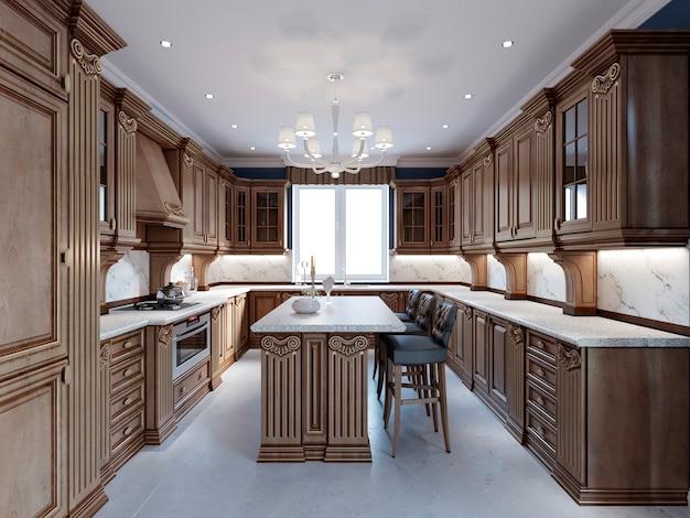 Cuisine de luxe avec carrelage au sol, armoires teintées et comptoir en marbre. rendu 3d