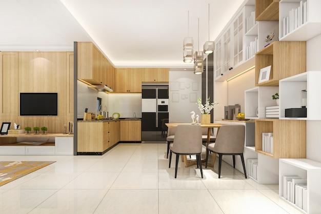 Cuisine minimale de rendu 3d blanc avec décoration de luxe