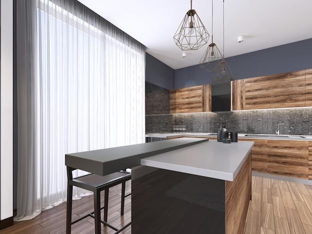 Cuisine minimaliste moderne, avec accessoires en bois contemporains, fenêtre panoramique, design d'intérieur de luxe, rendu 3d