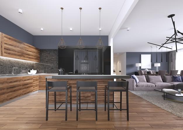 Cuisine moderne avec armoires de cuisine en bois et noir lustré, îlot de cuisine avec tabourets de bar, comptoirs en pierre, électroménagers encastrés. rendu 3d