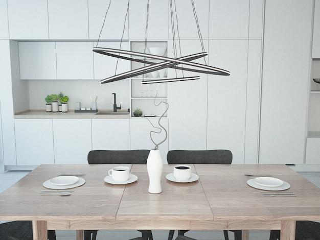 Cuisine moderne blanche avec table à manger