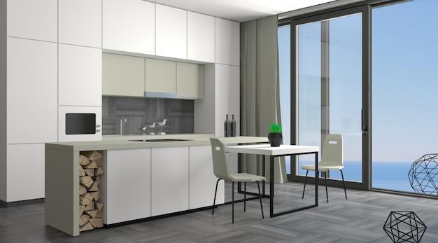 Cuisine moderne avec fenêtre coulissante