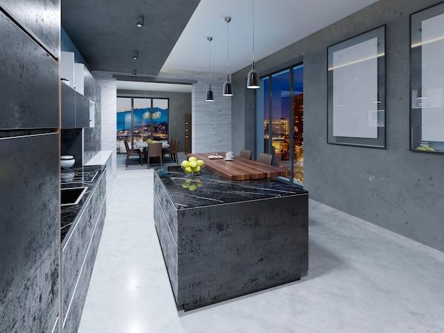 Cuisine moderne longue îlot de cuisine avec un bar en bois avec des chaises. rendu 3d.