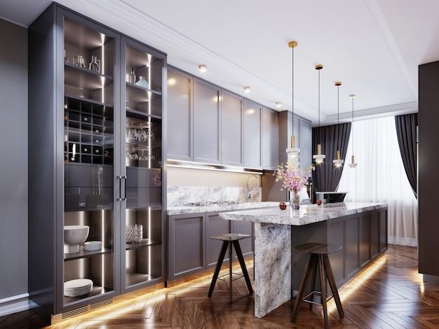 Cuisine moderne à la mode avec un mobilier contemporain gris, un îlot de cuisine avec un comptoir de bar et deux chaises, des murs beiges et du parquet. rendu 3d.