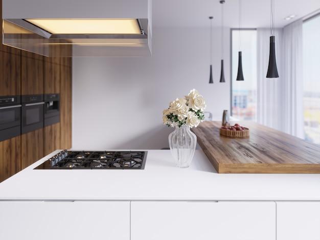 Cuisine moderne technologique dans un style minimaliste avec une nouvelle génération d'appareils. plaque de cuisson, hotte en verre éclairée, plafonniers, comptoirs de bar, chaises et décor. rendu 3d