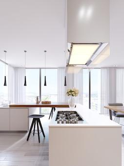 Cuisine moderne technologique dans un style minimaliste avec une nouvelle génération d'appareils. plaque de cuisson, hotte en verre éclairée, plafonniers, comptoirs de bar, chaises et décoration. rendu 3d