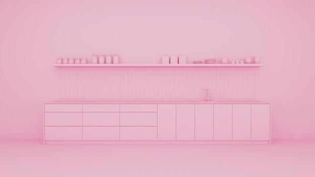 Cuisine rose avec mobilier intégré