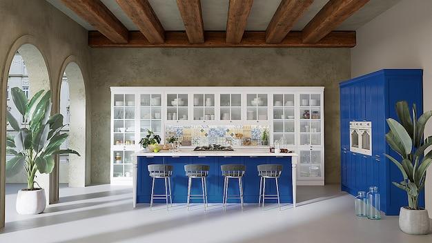 Cuisine de style moderne avec meubles de cuisine