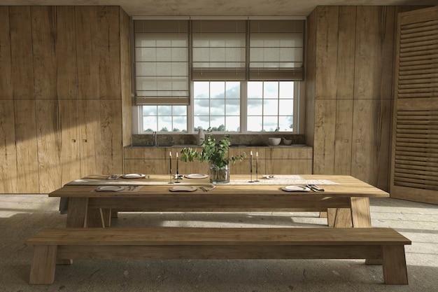 Cuisine et table à manger en bois de style ferme scandinave avec vaisselle illustration de rendu 3d