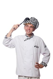 Cuisinier drôle isolé sur blanc