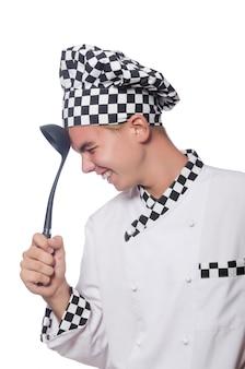 Le cuisinier drôle isolé sur blanc