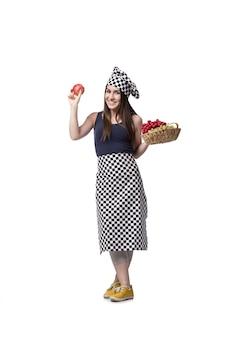 Cuisinier jeune femme isolé sur blanc