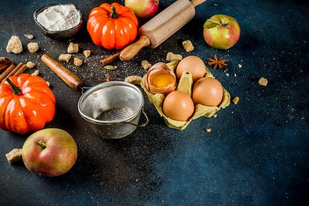 Cuisson douce à l'automne avec des ingrédients et des ustensiles