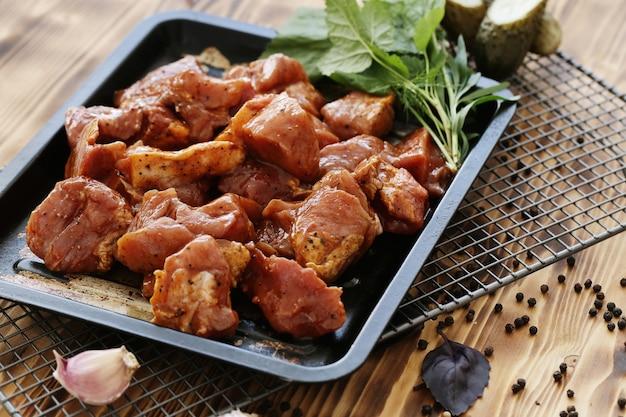Cuisson de la viande crue