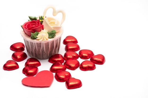 Cup cake et coeur rouge