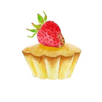 Cupcake aquarelle à la fraise