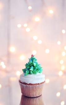 Cupcake de noël avec des lumières
