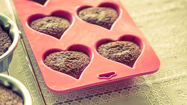 Cupcakes avec forme de coeur