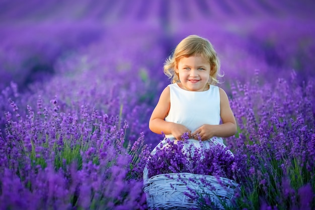 Curly girl standing on a lavender field in white dress and hat with cute face and nice hair with lavender bouquet and smiling.