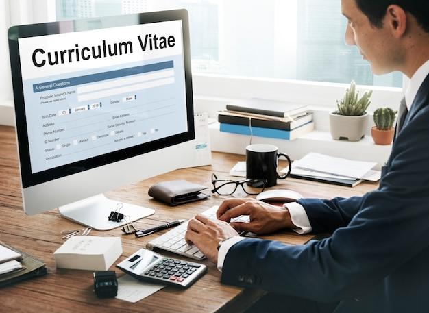 Curriculum vitae biographie formulaire concept