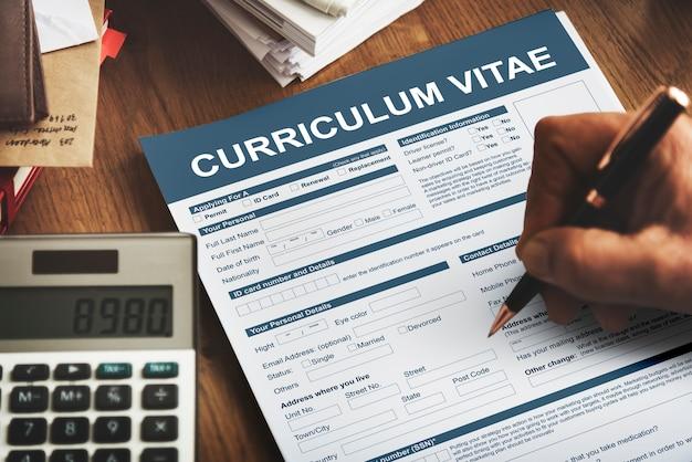 Curriculum vitae cv concept de demande d'emploi