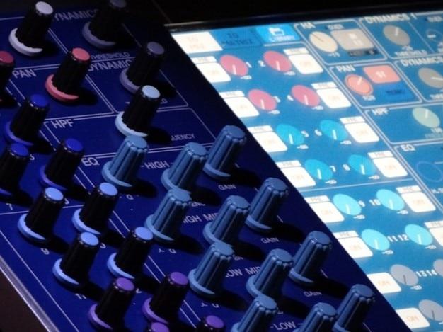 Curseur bureau stuido mélangeur équipement audio de musique