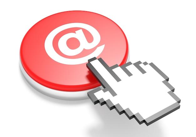 Curseur de la main de la souris sur le bouton e-mail rouge. illustration 3d.